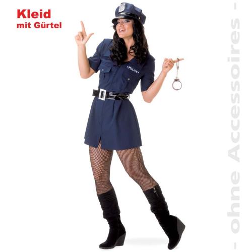 Fasching Karneval Kostum Polizistin Kleid Mit Gurtel Gr 34